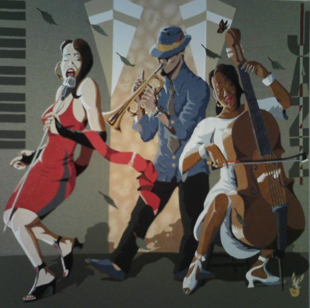 'Jazz Therapy' - 48 x 48 inches - July 2009 - Leather, Various Fabrics